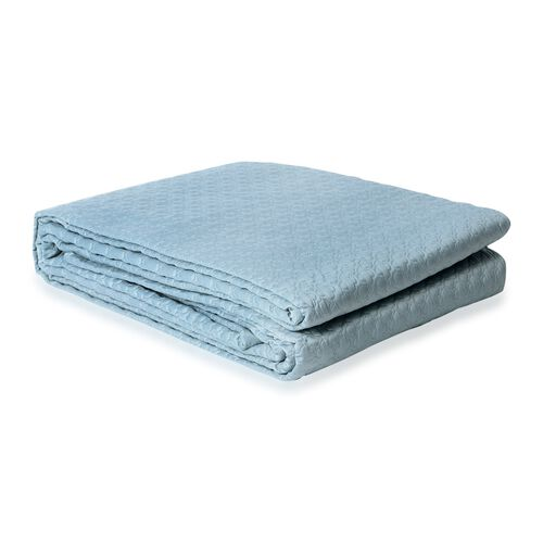 King Size Luxury Satin Quilt with Geometrical Embroidery and Scalopped Edges in Mermaid Blue Colour (Size 260x240 Cm)