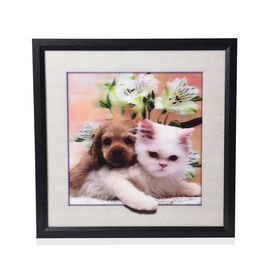 5D Kitten and Puppy Painting (Size: 43.5x43.5x4.5 Cm) - White and Multi