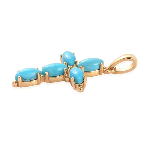 Arizona Sleeping Beauty Turquoise Cross Pendant in 14K Gold Overlay Sterling Silver 1.25 Ct.