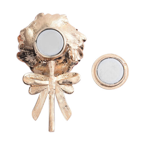 TJC Poppy Design - Magnetic Enamelled Poppy Brooch in Gold Plated