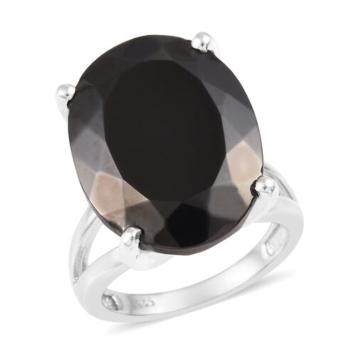11.75 Ct Elite Shungite Solitaire Ring in Platinum Plated Sterling Silver 6.37 Grams