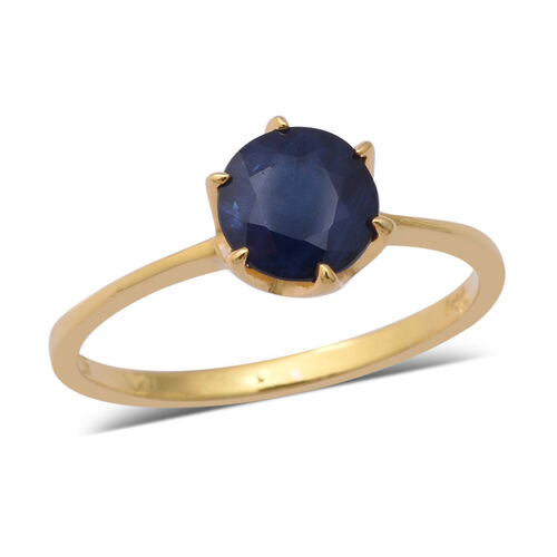 1.55 Ct Kanchanaburi Blue Sapphire Solitaire Ring in Yellow Gold Plated Sterling Silver
