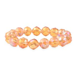 Champagne AB Crystal Beaded Stretchable Bracelet 6.5 Inch