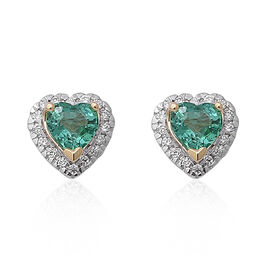 ILIANA 1 Carat AAA Kagem Zambian Emerald and Diamond Stud Heart Earrings in 18K Gold SI GH