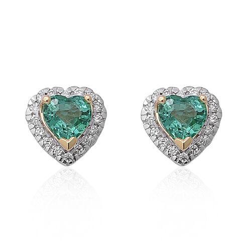 ILIANA 1 Carat AAA Kagem Zambian Emerald and Diamond Stud Heart Earrings in 18K Gold SI GH