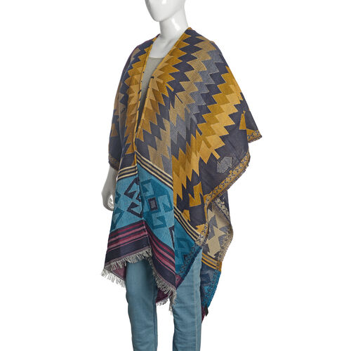 Limited Available - Italian Designer Inspired Golden, Blue and Multi Colour Woven Poncho (Free Size)