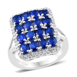 Limited Edition Designer Inspired - Blue Spinel (Ovl), Natural Cambodian Zircon Ring in Platinum Ove