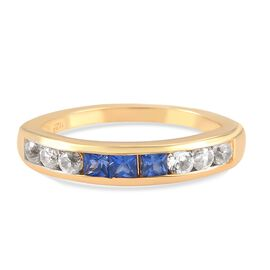 Blue Sapphire and Natural Cambodian Zircon Ring in 14K Yellow Gold Overlay Sterling Silver