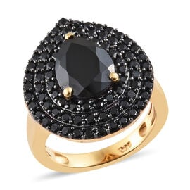 Boi Ploi Black Spinel (Pear) Ring in 14K Gold Overlay Sterling Silver 4.500 Ct, Silver wt 5.35 Gms.