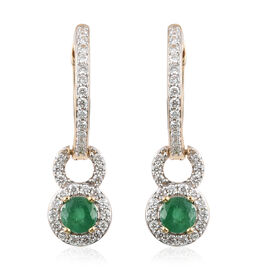 ILIANA 18K Yellow Gold AAAA Kagem Zambian Emerald (Rnd), Diamond (VS/E-F) Earrings (with Hoop) 1.600 Ct, Gold wt 5.85 Gms.