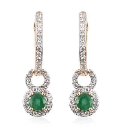ILIANA 18K Yellow Gold AAA Kagem Zambian Emerald (Rnd), Diamond (I1 / G-H) Earrings (with Clasp) 1.6