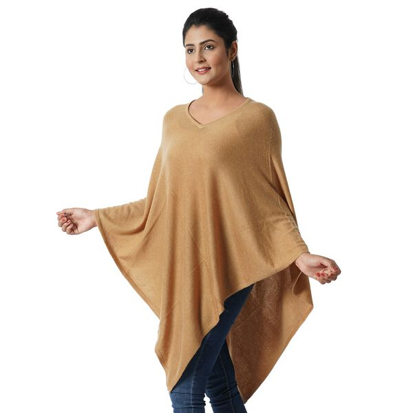 Limited Available - 100% Cashmere Wool Poncho - Khaki Colour (Free Size/70x70Cm)