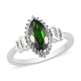 AA Russian Diopside and White Diamond Ring in Platinum Overlay Sterling Silver 1.07 Ct.