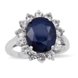 Blue Sapphire and Natural Cambodian Zircon Ring in Rhodium Overlay Sterling Silver 7.72 Ct.