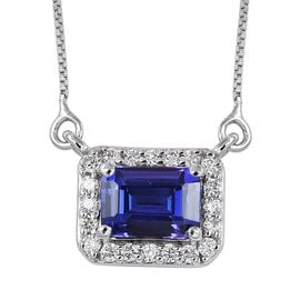 RHAPSODY 950 Platinum AAAA Tanzanite and Diamond Necklace (Size 18) 1.25 Ct.