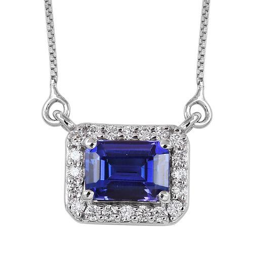 RHAPSODY 950 Platinum AAAA Tanzanite and Diamond Necklace (Size 18) 1.25 Ct.