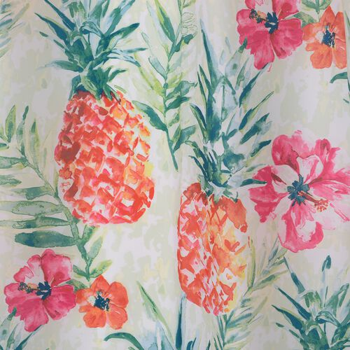 Multi Colour Flowers and Pineapple Printed Shower Curtain (Size 180x180 Cm) with Bathmat (Size 60x40 Cm)