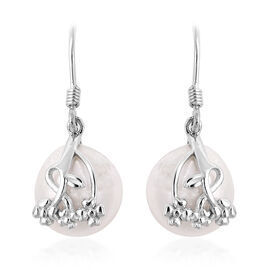 Baroque White Pearl Drop Earrings with Hook in Rhodium Plated Sterling Silver 3 Grams