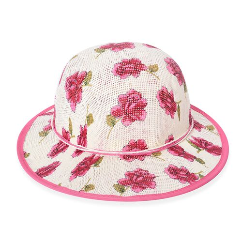 2 Piece Set - Flower Pattern Tote Bag with Zipper Closure (Size 44x30x14 Cm) and Hat with Bowknot (Size 29x31 Cm) - Pink