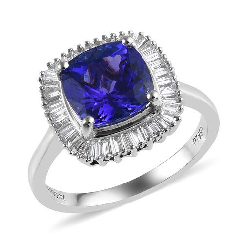 RHAPSODY 3 Carat AAAA Tanzanite and Diamond Halo Ring in 950 Platinum 5.30 Grams VS EF