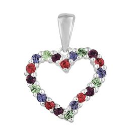 J Francis Crystal from Swarovski - Amethyst, Peridot and Multi Colour Crystal Heart Pendant in Sterling Silver