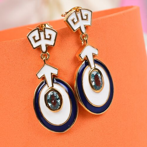 Ratanakiri Blue Zircon Enamelled Dangle Earrings (with Push Back) in 14K Gold Overlay Sterling Silver wt. 5.50 Grm