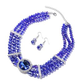 2 Piece Set - Simulated Blue Sapphire and White Austrian Crystal Multi-row Beads Necklace (Size 18 w