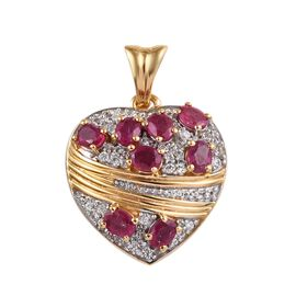GP  Safeguard Heart African Ruby (Ovl), Natural Cambodian Zircon and Blue Sapphire Heart Pendant in