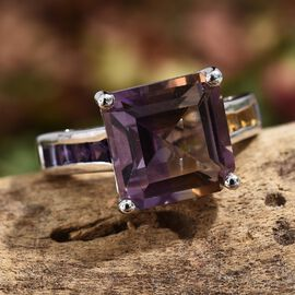 7 Ct Anahi Ametrine and Amethyst with Citrine Ring in Platinum Plated Silver 5.40 Grams