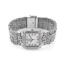 Royal Bali Collection EON 1962 Swiss movement Sterling Silver MOP Tulang Naga Bracelet Watch (Size 7), Silver wt 80.00 Gms.