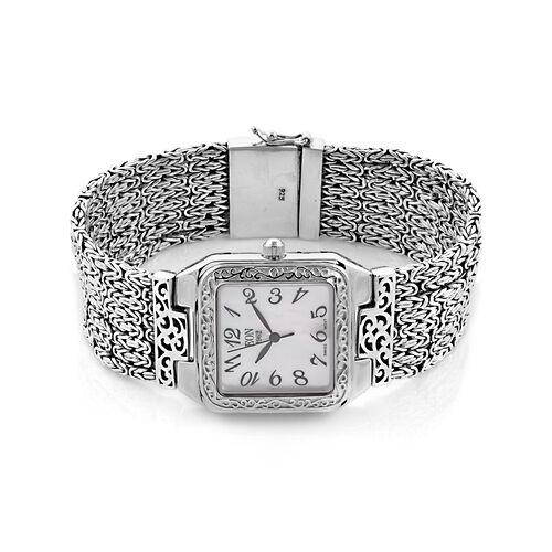 Royal Bali Collection EON 1962 Swiss movement Sterling Silver MOP Tulang Naga Bracelet Watch (Size 7