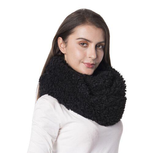 Black Colour Faux Sherpa Infinity Scarf (Size 150x20 Cm)