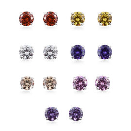 Set of 7 - ELANZA Multi Colour Simulated Diamond (Rnd) Stud Earrings (with Push Back) in Sterling Silver