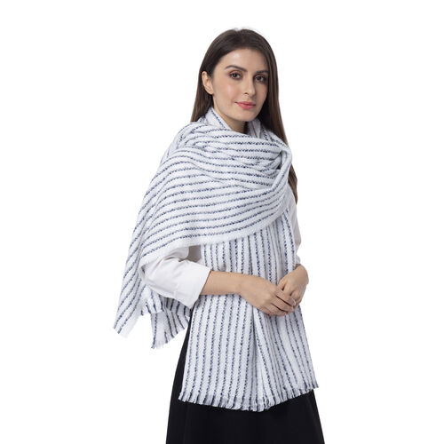 White Colour Strip Pattern Scarf (Size 190x68 Cm)