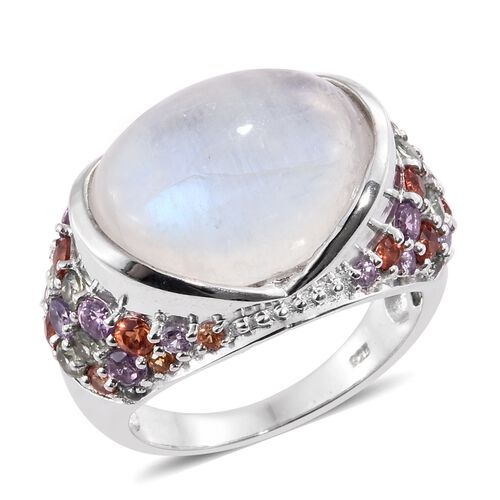 Sri Lankan Rainbow Moonstone (Ovl 13.70 Ct), Multi Sapphire Ring in Platinum Overlay Sterling Silver