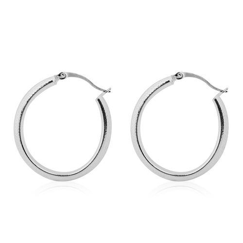 NY Designer Close Out Deal - Sterling Silver Greek Key Design Hoop Earrings. Silver Wt 4.40 Gm