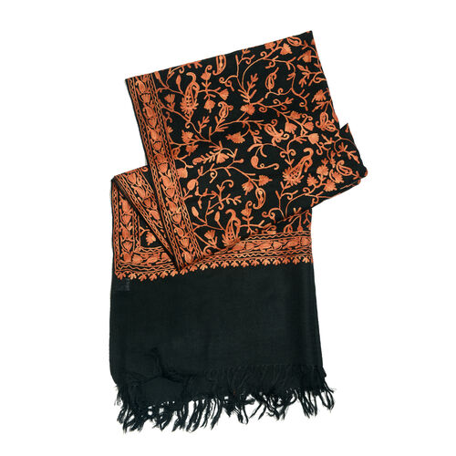 Limited Available - 100% Merino Wool Tan Colour Embroidered Black Colour Scarf with Fringes (Size 200x70 Cm)