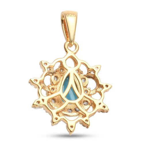 Arizona Sleeping Beauty Turquoise and Natural Cambodian Zircon Pendant in 14K Gold Overlay Sterling Silver 0.95 Ct.