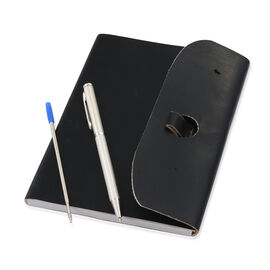 Luxury Silver Pen (10 Gms) With 1 Extra Refill and Embossed Leather Diary (Size 17.5X12.5 Cm)  - Bla