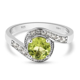 Natural Hebei Peridot and Natural Cambodian Zircon Bypass Ring in Rhodium Overlay Sterling Silver 1.