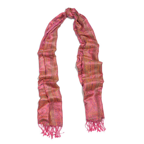 SILKMARK - 100% Superfine Silk Pink, Green and Multi Colour Paisley Pattern Reversible Scarf with Tassels (Size 180X70 Cm) (Weight 125 to 140 Gm)