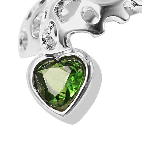 RACHEL GALLEY Angel Heart Collection - Russian Diopside Lattice Heart Locket Pendant with Chain (Size 20 with Extender) in Rhodium Overlay Sterling Silver