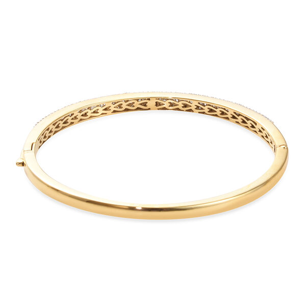 Diamond (Bgt and Rnd) Bangle (Size 7.5) in 14K Gold Overlay Sterling Silver 1.51 Ct, Silver wt 15.14 Gms