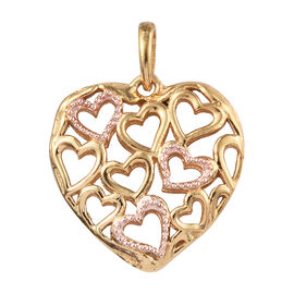 Italian Made - Rose Gold and Yellow Gold Overlay Sterling Silver Heart Pendant.Silver Wt 4.50 gm