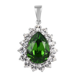 J Francis Fern Green Crystal and White Crystal from Swarovski Halo Pendant in Sterling Silver