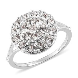 J Francis Crystal from Swarovski White Colour Crystal Cluster Ring in Sterling Silver