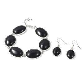 Black Agate (Ovl) Bracelet (Size 8 with 1 inch Extender) and Hook Earrings in Stainless Steel 175.00