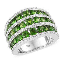 Russian Diopside (Rnd), Natural Cambodian Zircon Ring in Platinum Overlay Sterling Silver 5.000 Ct, Silver wt: 7.84 Gms. Number Of Gemstone 167