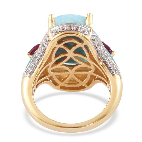 Larimar, African Ruby and Natural Cambodian Zircon Ring in 14K Gold Overlay Sterling Silver 7.88 Ct, Silver wt 5.81 Gms