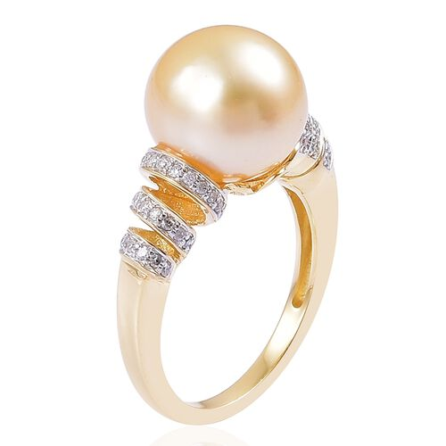 9K Yellow Gold AA South Sea Golden Pearl (Rnd 11.5-12mm), Diamond Ring
